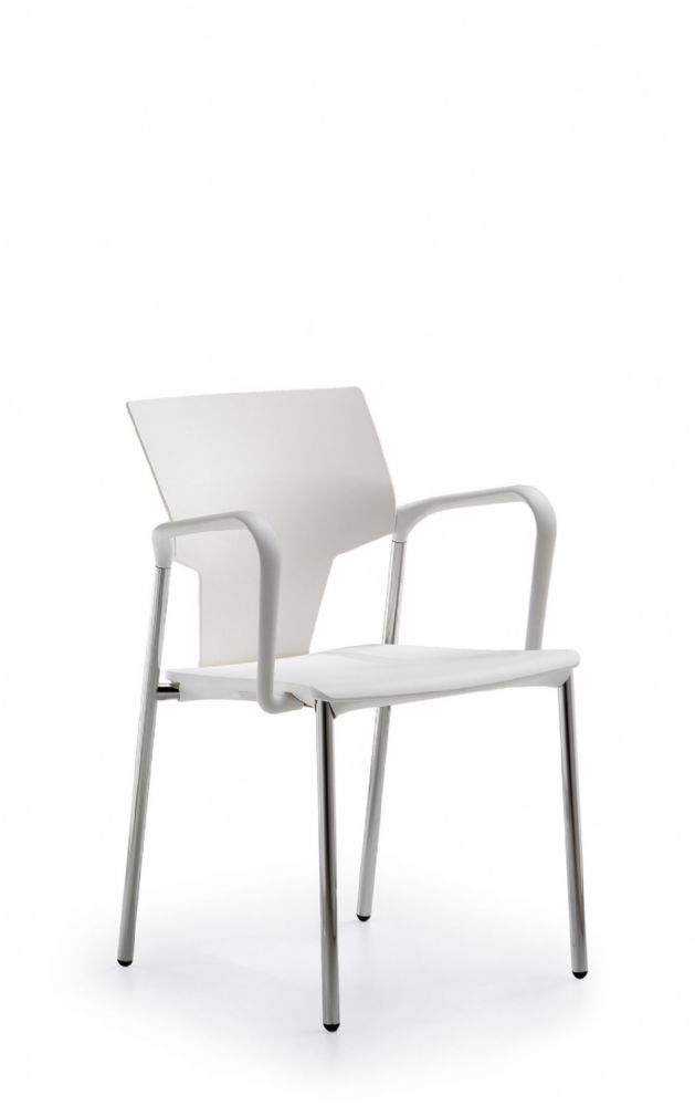 Pledge Ikon Chair, Plastic Seat And Back With Four Leg Frame. Optional Arms